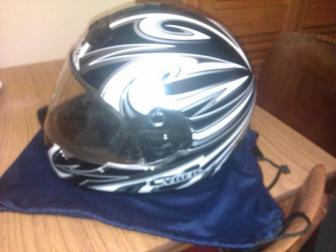 Black/white/silver 'Cyber' motobike helmet