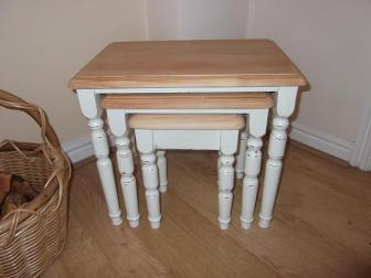 shabby chic farmhouse solid pine table nest
