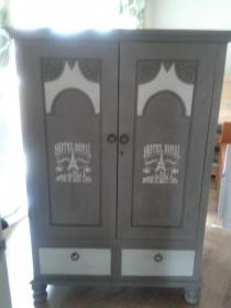 antique solid oak tallboy / small wardrobe