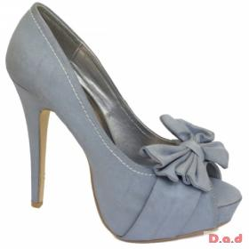 Ladies Blue Rubbed Satin Bow Peeptoe Shoe