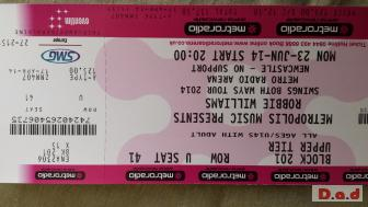 ROBBIE WILLIAMS X2 TICKETS FOR MONDAY 23RD JUNE NEWCASTLE ARENA