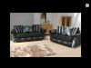 BRAND NEW 3 + 2 SOFA  BLACK/SILVER  SCATTER CUSHIONS  ONLY £699
