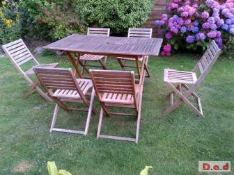 Aged Wooden Family Patio Set Garden Set 6 Folding Chairs Wooden Folding Table